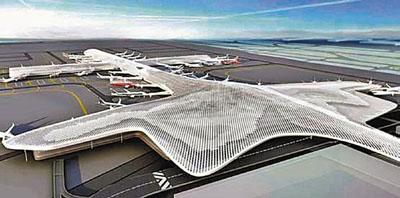 ■深圳机场t3航站楼(效果图)建成后将与本区域的香港机场、广