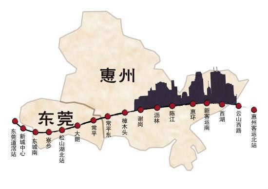 东莞轻轨通车线路图-莞惠城轨有望明年底通车图片