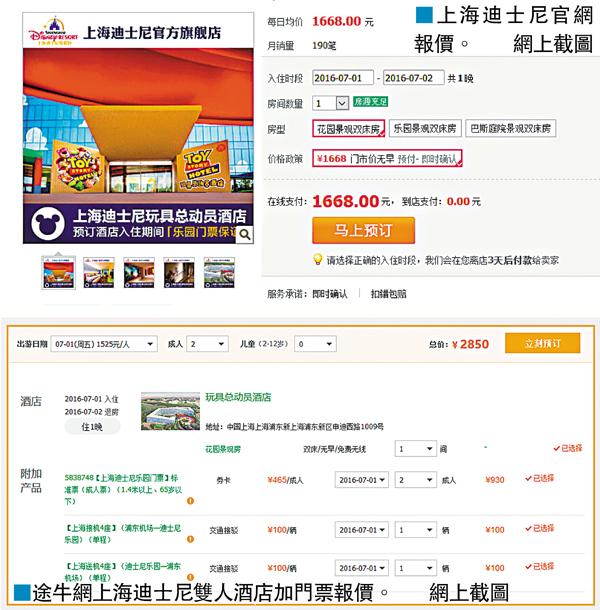 ■途牛網上海迪士尼雙人酒店加門票報價。 網上截圖