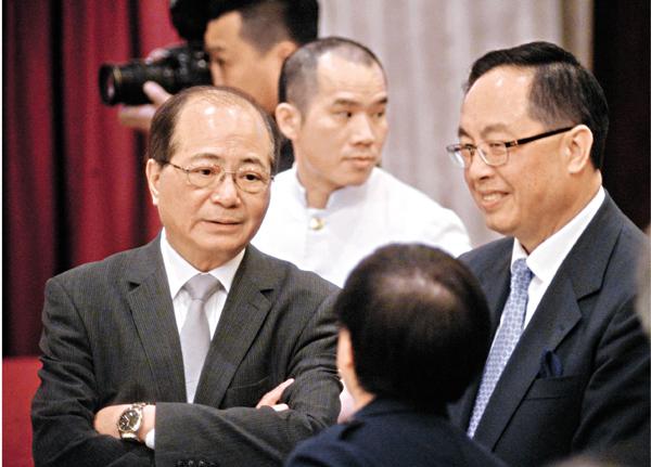 ■吳克儉及楊偉雄昨出席團結香港基金午餐會。梁祖彝 攝