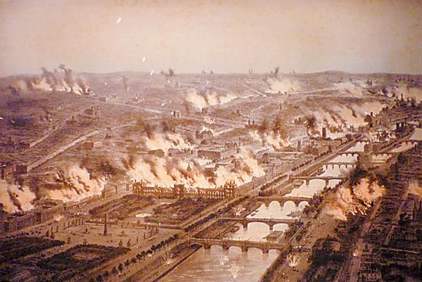 ■巴黎於百多年前,曾被人作大規模縱火。 網上圖片