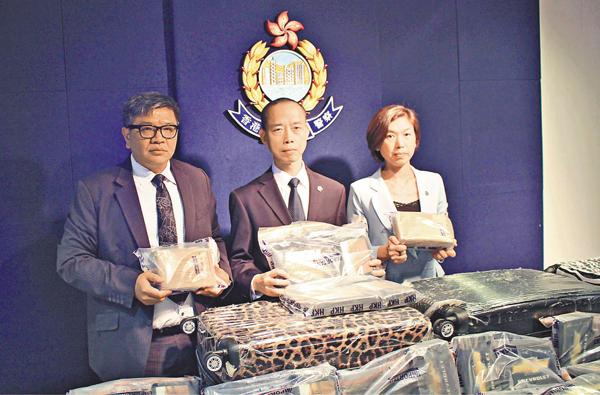 ■警方截獲總值1.32億港元毒品。莊禮傑  攝