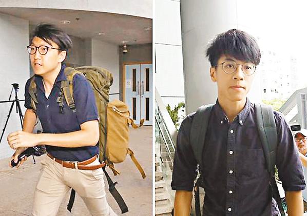 ■兩名「本土民主前線」發言人梁天琦(左)和黃台仰昨被加控罪,將轉往高院審訊。圖為他們昨日到九龍城法院應訊。