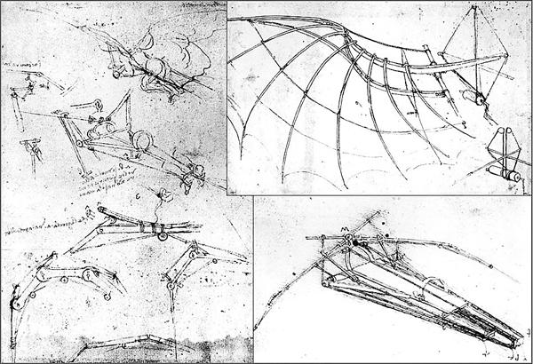 ■達.文西的撲翼機草圖。網上圖片