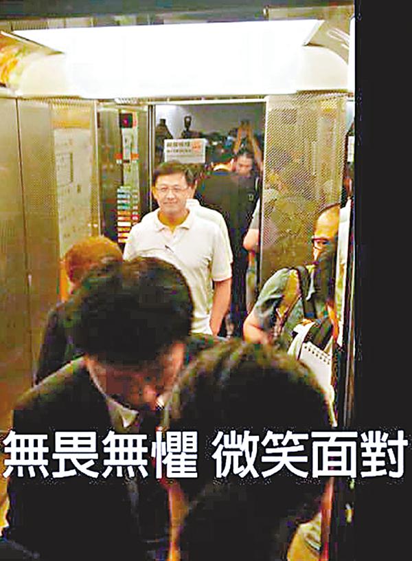 ■何君堯在候選人簡介會後被困電梯,被激進「本土」支持者辱罵。