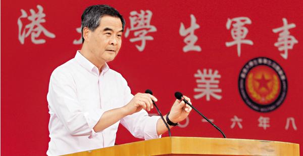 ■梁振英強調香港是法治社會,必須依法和執法,而市民必須知法和守法。 潘達文  攝