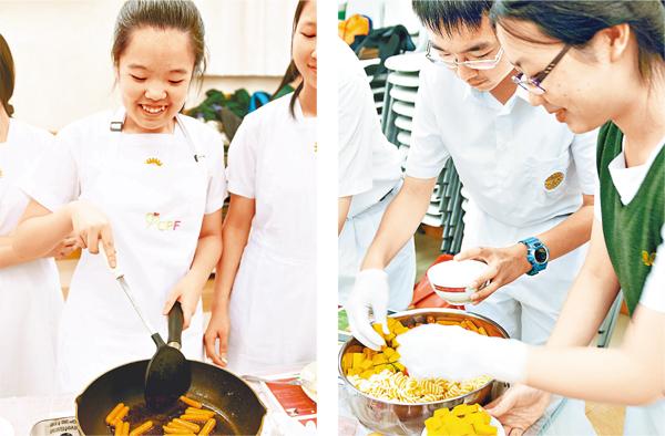 ■聖士提反堂中學早前安排學生參加「十元午膳」活動,以鼓勵他們珍惜食材,學生反應理想。 學校供圖