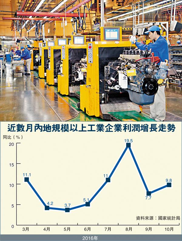 ■內地10月份工業企業利潤增速回升。圖為山東濰坊一家工廠發動機組裝車間。 新華社