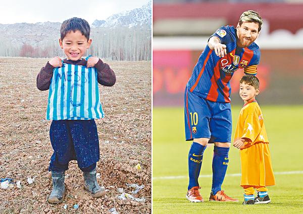 ■年初一張自製美斯膠袋波衫的照片(左圖),阿富汗小男孩穆爾塔薩終於見到偶像真身(右圖)。  法新社