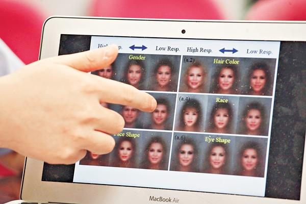 ■團隊以反饋信號訓練電腦辨別人面特徵。 劉國權  攝