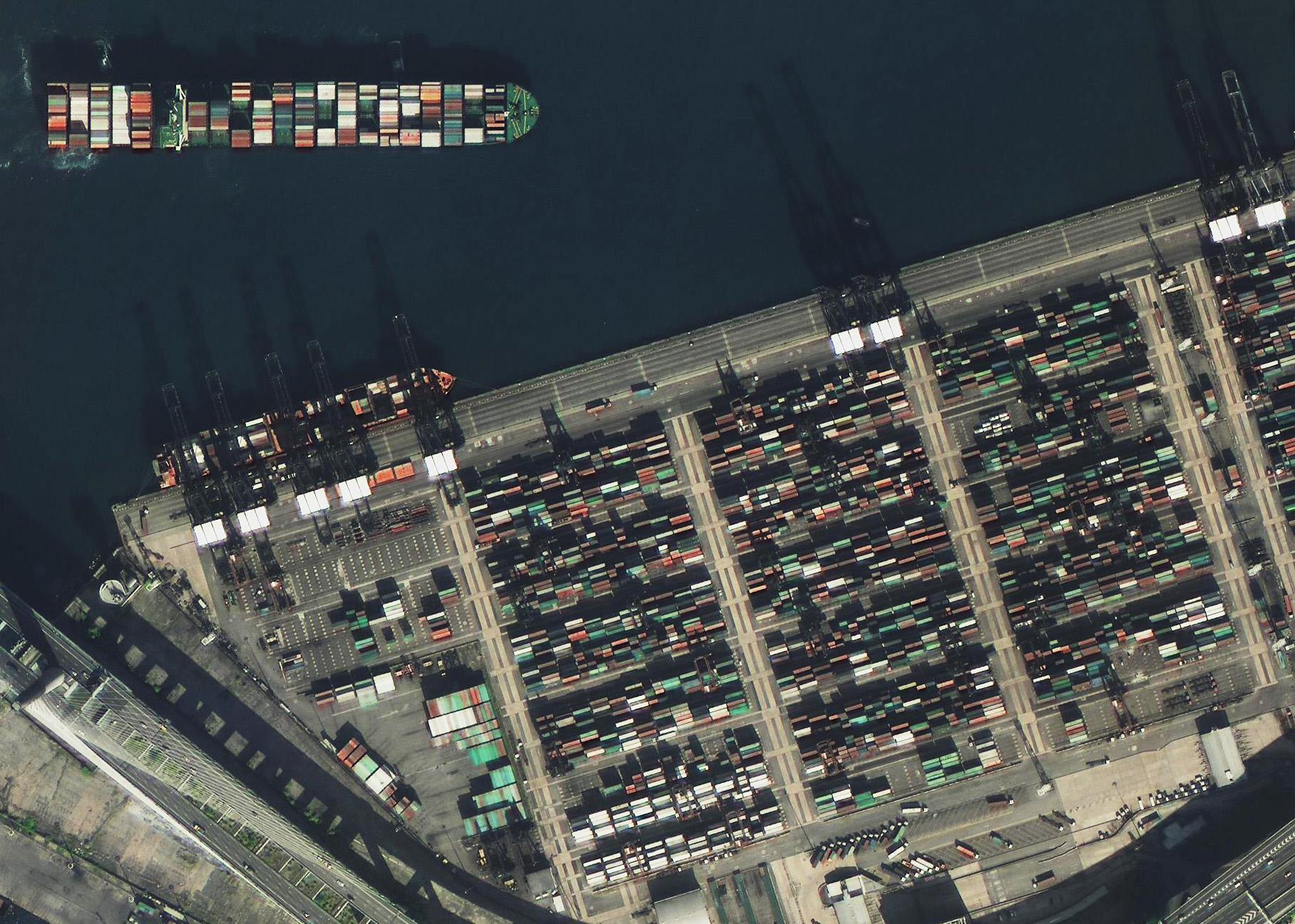 高景一號獲得的香港中遠貨運中心圖像。(四維測繪供圖)