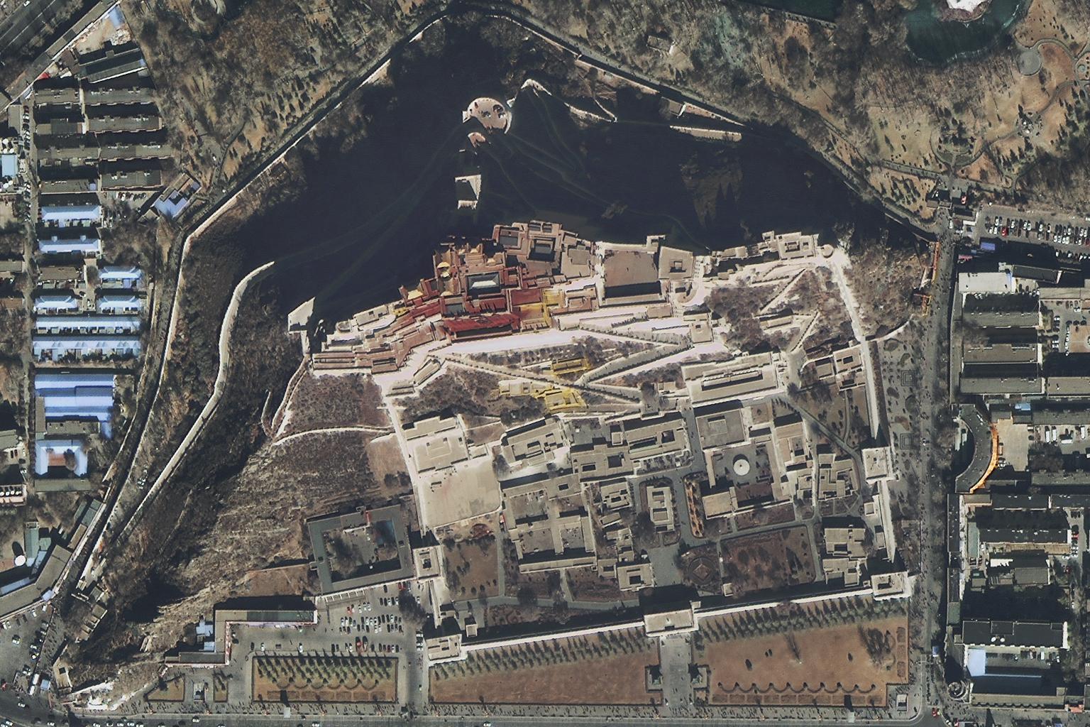 高景一號獲得的布達拉宮景區圖像。(四維測繪供圖)