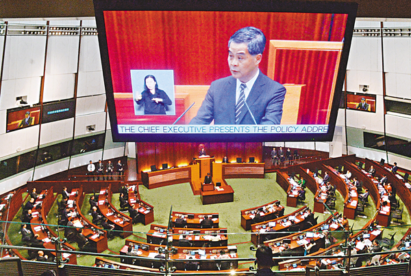 ■特首梁振英昨日在立法會發表任內最後一份施政報告。 梁祖彝  攝