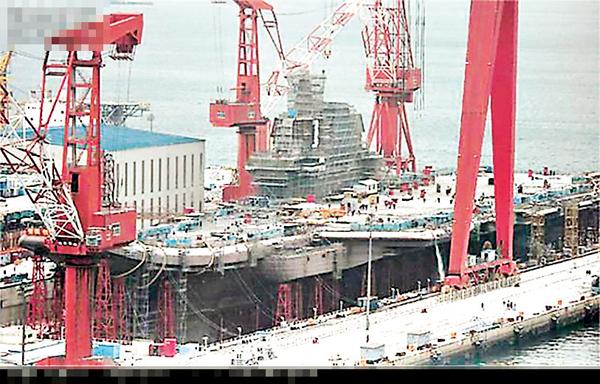 ■中國首艘國產航母建造成型。 網上圖片