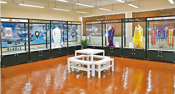 ■明愛屯門馬登基金中學在校內設置「一帶一路」通識館,擺放了多個國家及地區的展品。 校方供圖