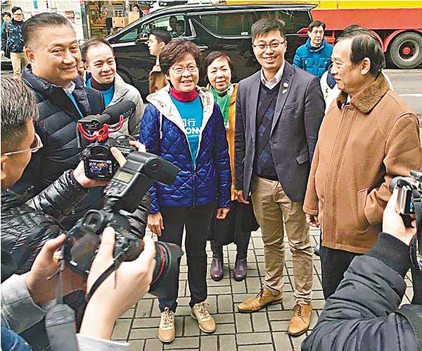 ■林鄭月娥昨日在陳振彬、顏汶羽等陪同下,到觀塘區及九龍灣與市民接觸。