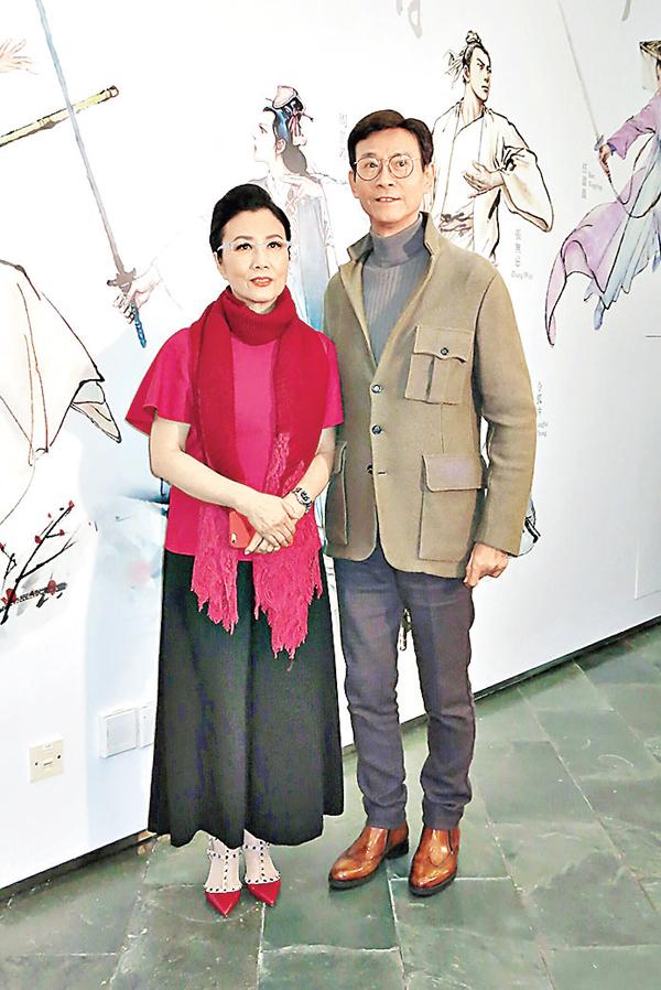 ■汪明荃(左)和鄭少秋昨日為「金庸館」出席開幕禮。