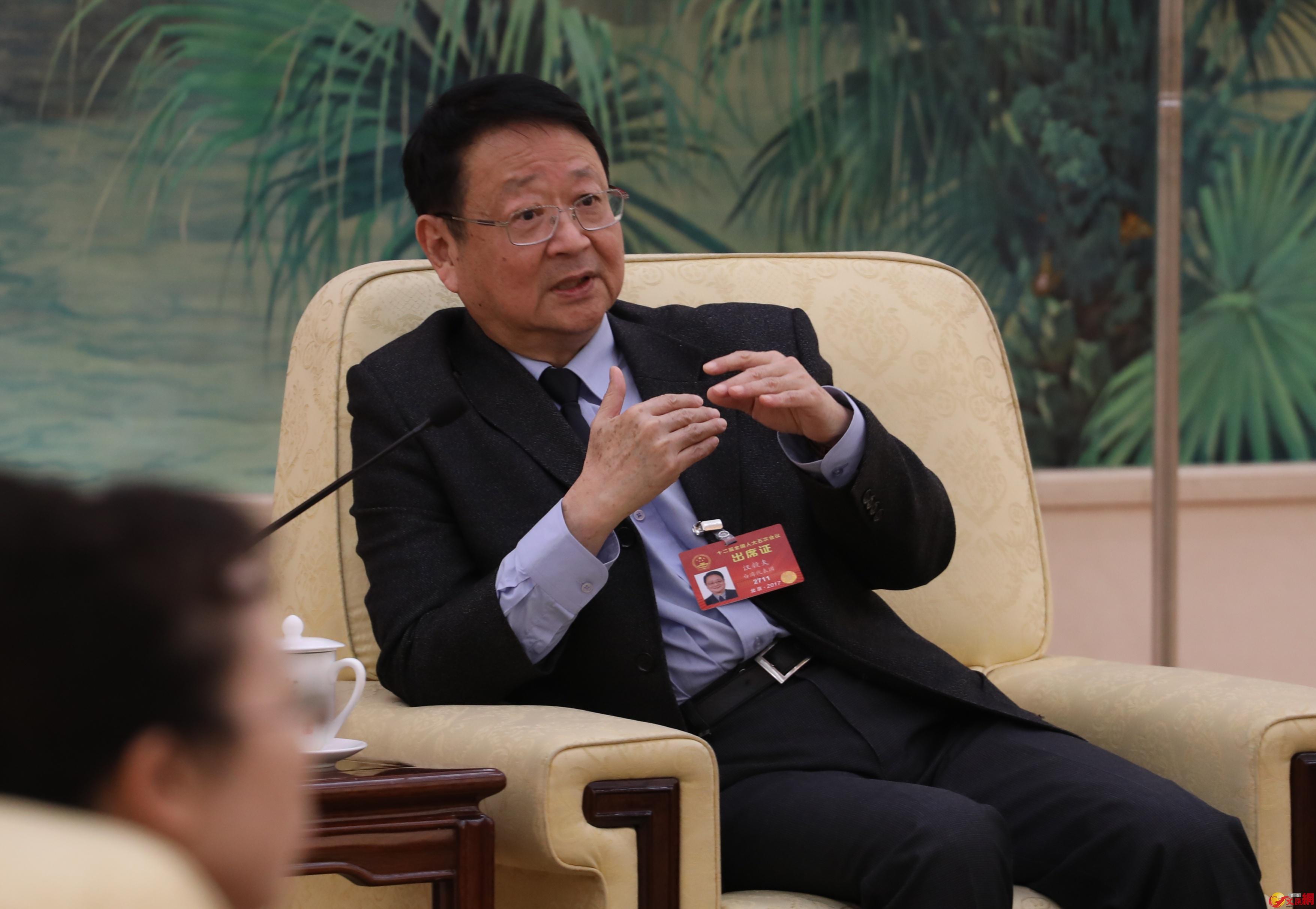 全國人大台灣代表團團長、全國台聯會長汪毅夫 麥鈞傑攝