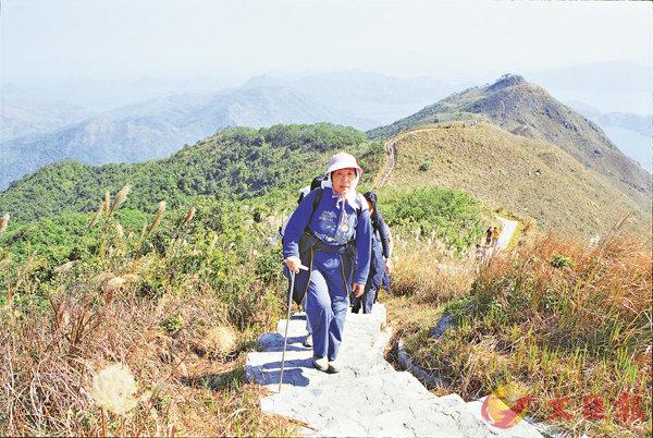 ■赤柱峰是衛奕信徑的第一段。圖為登山客在衛奕信徑的照片。 資料圖片