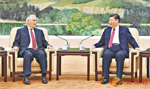 ■習近平昨日在北京人民大會堂會見美國國務卿蒂勒森。中新社