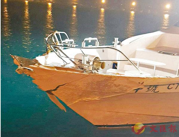 ■海軍飛彈快艇與漁船「北洋號」擦撞,「北洋號」船頭嚴重受損。  中央社