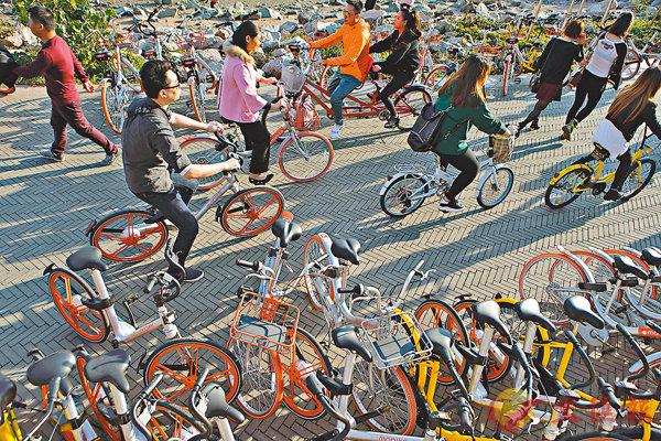 ■截至2016年底,共享單車市場整體用戶數量已達到1,886萬。圖為市民騎共享單車。 資料圖片
