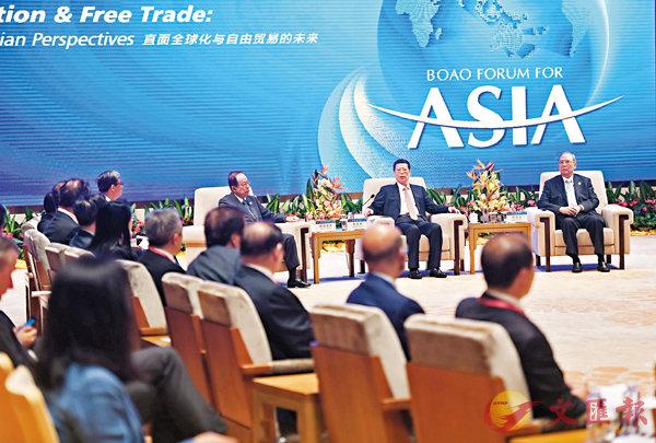 ■張高麗昨在海南博鰲會見出席博鰲亞洲論壇2017年年會的中外企業家。 中新社