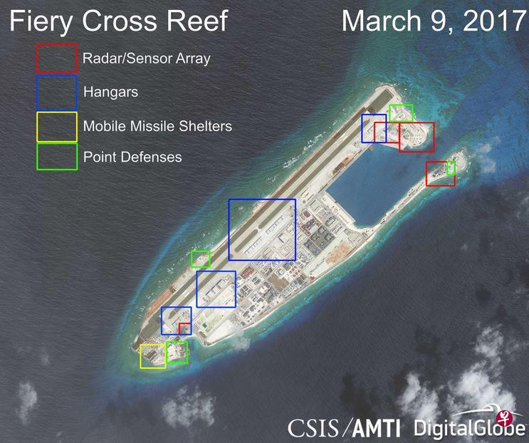 永暑礁(Fiery Cross Reef)最新衛星圖(AMTI網站)