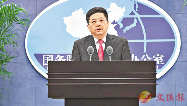 ■國台辦發言人馬曉光嚴正指出,大陸堅決反對台灣開展任何形式的軍事往來和官方交往,並希望台灣方面能夠回到堅持「九二共識」的正確軌道。  新華社