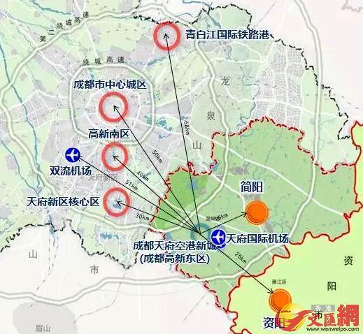 成都天府空港新城區位圖。四川傳真