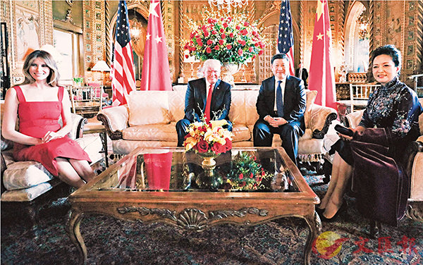 ■當地時間6日,中國國家主席習近平在美國佛羅里達州海湖莊園同美國總統特朗普舉行中美元首會晤。新華社