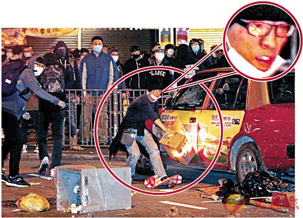 ■楊家倫(紅圈)參與暴動及縱火。資料圖片