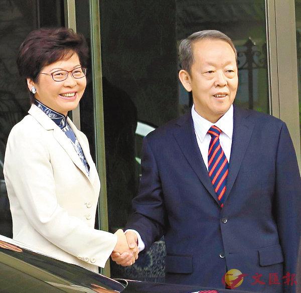 ■林鄭昨日與王光亞進行工作會晤。 朱朗文 攝