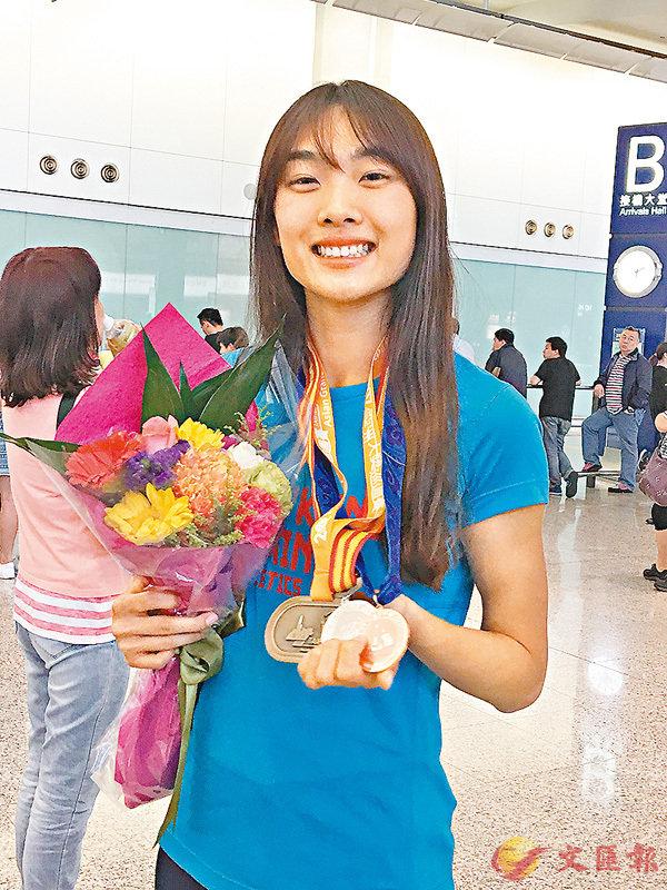 ■楊文蔚奪亞洲大獎賽跳高冠軍。 潘志南  攝