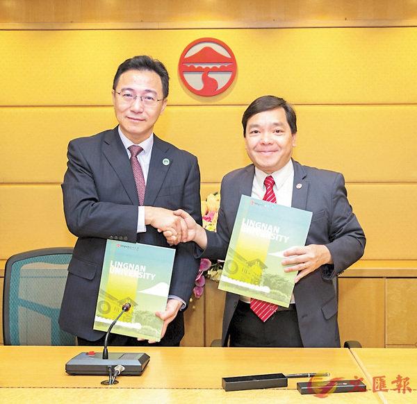 ■嶺大副校長莫家豪(右)及華南理工大學副校長朱敏(左)代表兩校簽署合作協議。 嶺大提供圖片