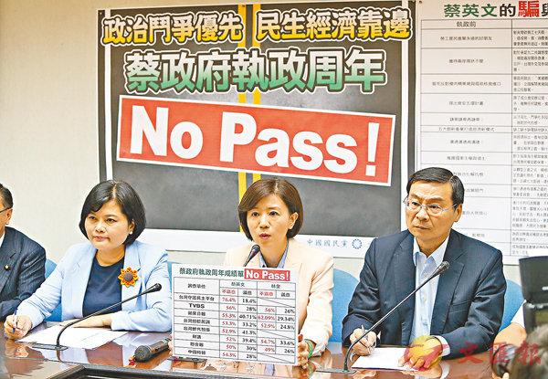 ■國民黨「立法院」黨團書記長王育敏(中)昨日表示,蔡英文上任一周年的成績單是「滿江紅」。 中央社