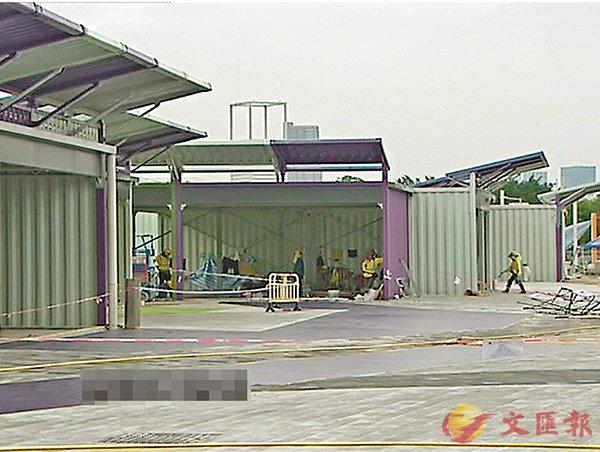 ■新田邊境購物城正進行工程,最快7月開幕。 電視截圖