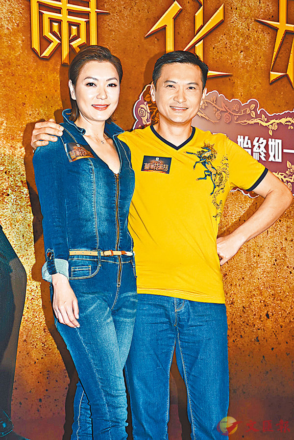 ■陳錦鴻(右)闊別無�谷h時,昨日現身宣傳他夥拍田蕊妮(左)的劇集。