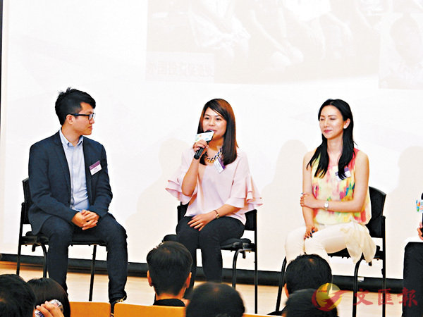 ■郭皓琳(中)表示,實習的經驗令她更容易適應在內地的工作。 香港文匯報記者黎忞  攝
