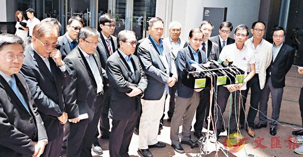 ■建造業大聯盟昨與林鄭月娥會面後,會見記者。香港文匯報記者殷翔  攝