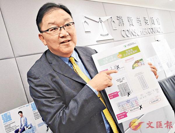■黃錦輝指地產代理「自製」的消耗表與發展商銷售資料不符。香港文匯報記者梁祖彝 攝
