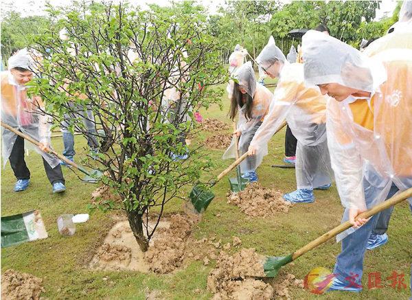 ■深港兩地嘉賓和青年共同種下新的回歸紀念樹。 香港文匯報記者何花  攝