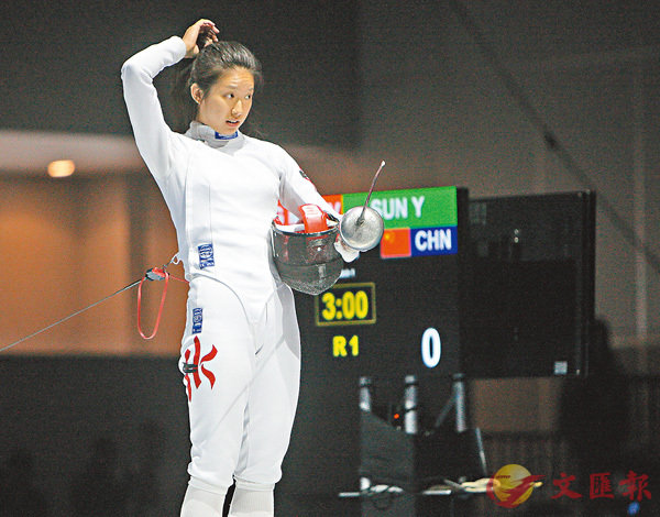 ■江旻憓今領銜香港女子重劍隊再爭獎牌。 香港文匯報記者郭正謙  攝
