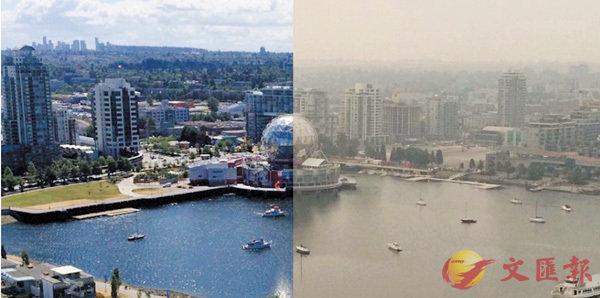■溫哥華被山火煙霧籠罩(圖右),媒體形容「空氣也不再甜」。 網上圖片