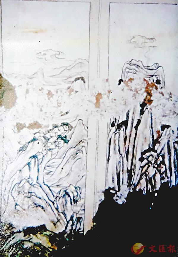 ■唐代李道堅墓中出土的山水壁畫。香港文匯報陝西傳真