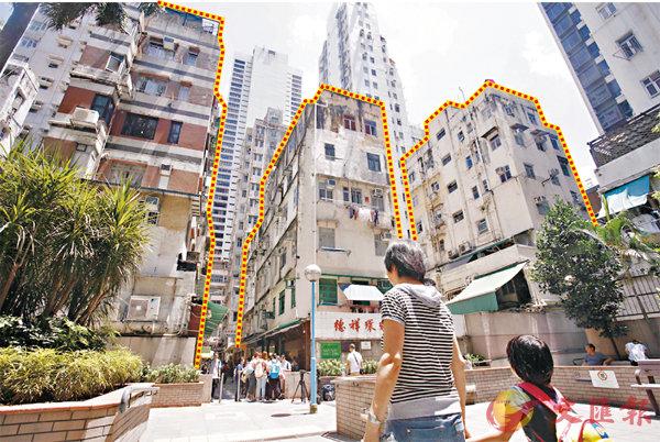 ■重建項目地盤面積約1,120平方米,涉及崇慶里、德輔道西及桂香街14個街號的樓宇(圖中虛線部分)。香港文匯報記者劉國權  攝