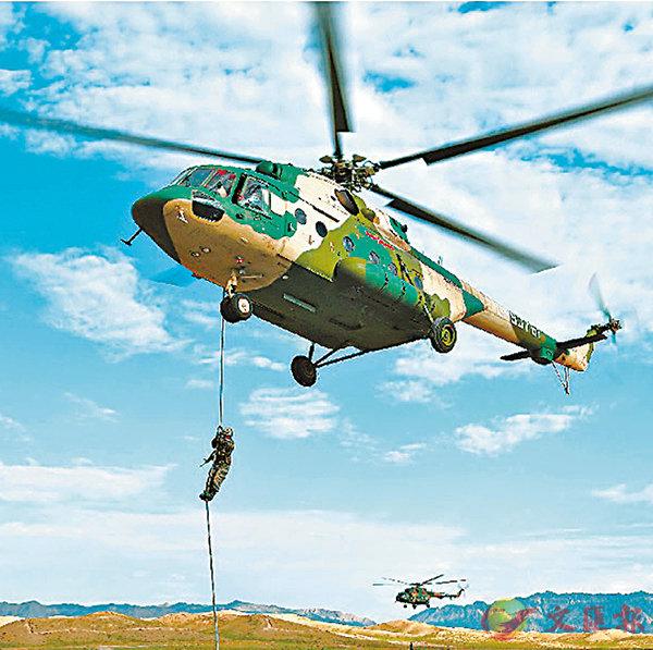 ■解放軍第76集團軍某陸航旅聯合某特戰旅前日開展陌生地域機降等訓練。 網上圖片