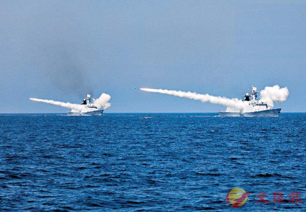 ■中國海軍昨日在黃海、渤海相關海空域演習中共實射了各型導彈數十枚。 網上圖片