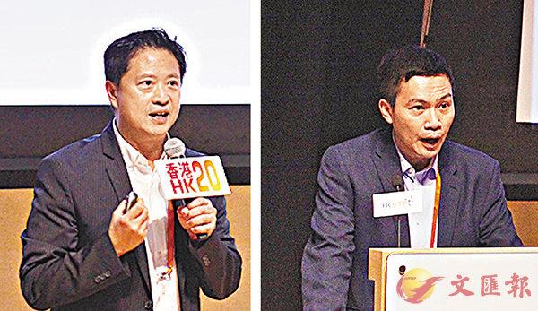 ■翁建霖(左)及馮偉康分享科技、創新創意為不同領域帶來的進步。 香港文匯報記者曾慶威  攝
