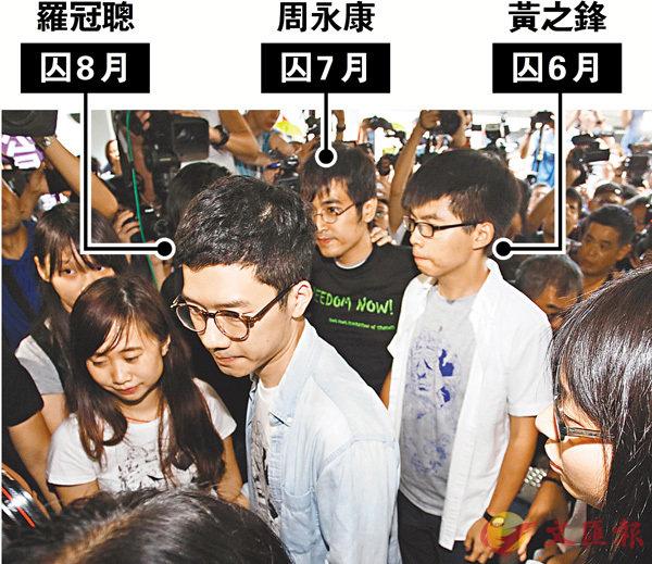 ■黃之鋒、 羅冠聰、周永康昨日被上訴庭裁定即時監禁。